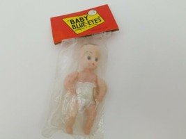 "Vintage Baby Blue Eyes Doll 4"" w Bottle Hong Kong 1960s Sealed Drinking ... - $9.74"