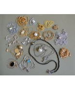 Vintage NECKLACE lot 18 classic simple drop pendant pearl geometric clas... - $35.63