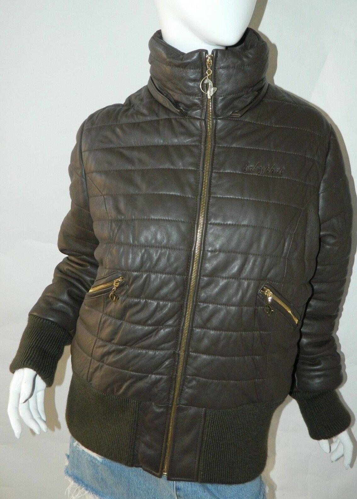 BABY PHAT Jacket Puffer Leather Kimora Lee Simmons Brown Coat XX-Large