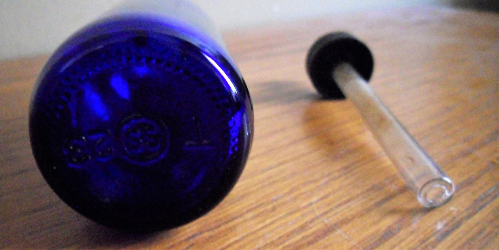 Vintage Cobalt Blue Glass Medicine DROPPER Bottle