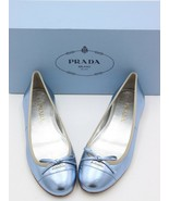NIB Prada Blue Metallic Leather Ballet Ballerina Bow Logo Flats 6 36 - $364.41