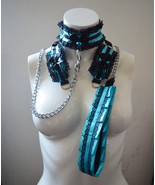 Made to Order - Kitten play collar leash and cuffs - Blue goddess - bdsm... - $79.00