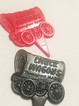 Vintage 60s Chuck Wagons plastic Steak Marker Picks (set of 2)