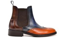 Men's Custom patina leather Chelsea jodhpurs boots men handmade ankle boots - $179.99 - $219.99