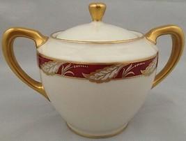 Lenox china BELLEVUE Maroon sugar bowl & lid  - $40.00