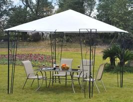 Steel Gazebo White Canopy Tent Metal Frame Garden Decoration Pavilion 10... - $118.78