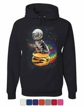 Cat Flying a Rainbow Burger Hoodie Funny Astronaut Kitten Space Sweatshirt - $28.35+