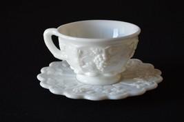 Westmoreland MIlk Glass Paneled Grape 1881 Tea Cup & Saucer - $5.94