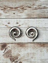 Vintage Clip On Earrings Silver Tone Large Statement Swirl - $14.99
