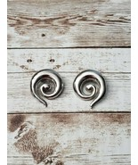 Vintage Clip On Earrings Silver Tone Large Statement Swirl - $14.99