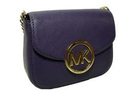 Michael Kors Logo Purse Crossbody Tiny Party Bag Genuine Purple Leather NWT - $167.30