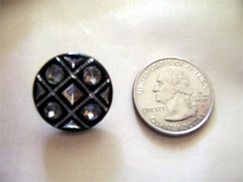 6 BLACK CARVED SILVERED VINTAGE BUTTONS 7/8″ IN SIZE - $36.00