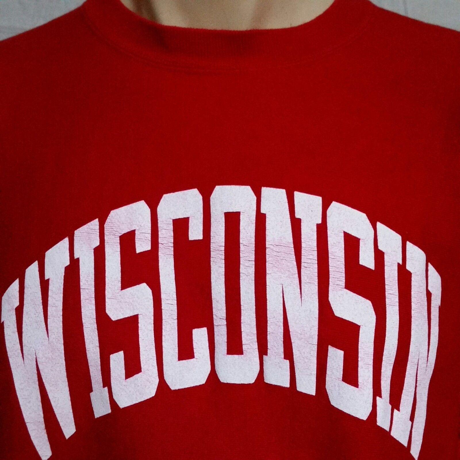 VTG Wisconsin Badgers Champion Reverse Weave Sweatshirt Crew Neck Jumper XXL 2XL image 2