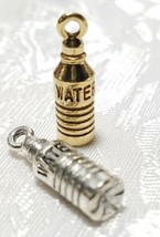 WATER BOTTLE FINE PEWTER PENDANT CHARM - 5mm L x 20mm W x 5mm D