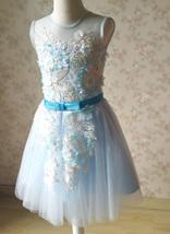 Girl Light Blue Flower Lace Dress High Waist Flower Girl Party Dress Birthday  image 4