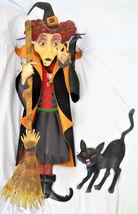 Large Metal 3-D Halloween Witch w/Broom & Black Cat Yard/Garden Stake GR... - $55.00