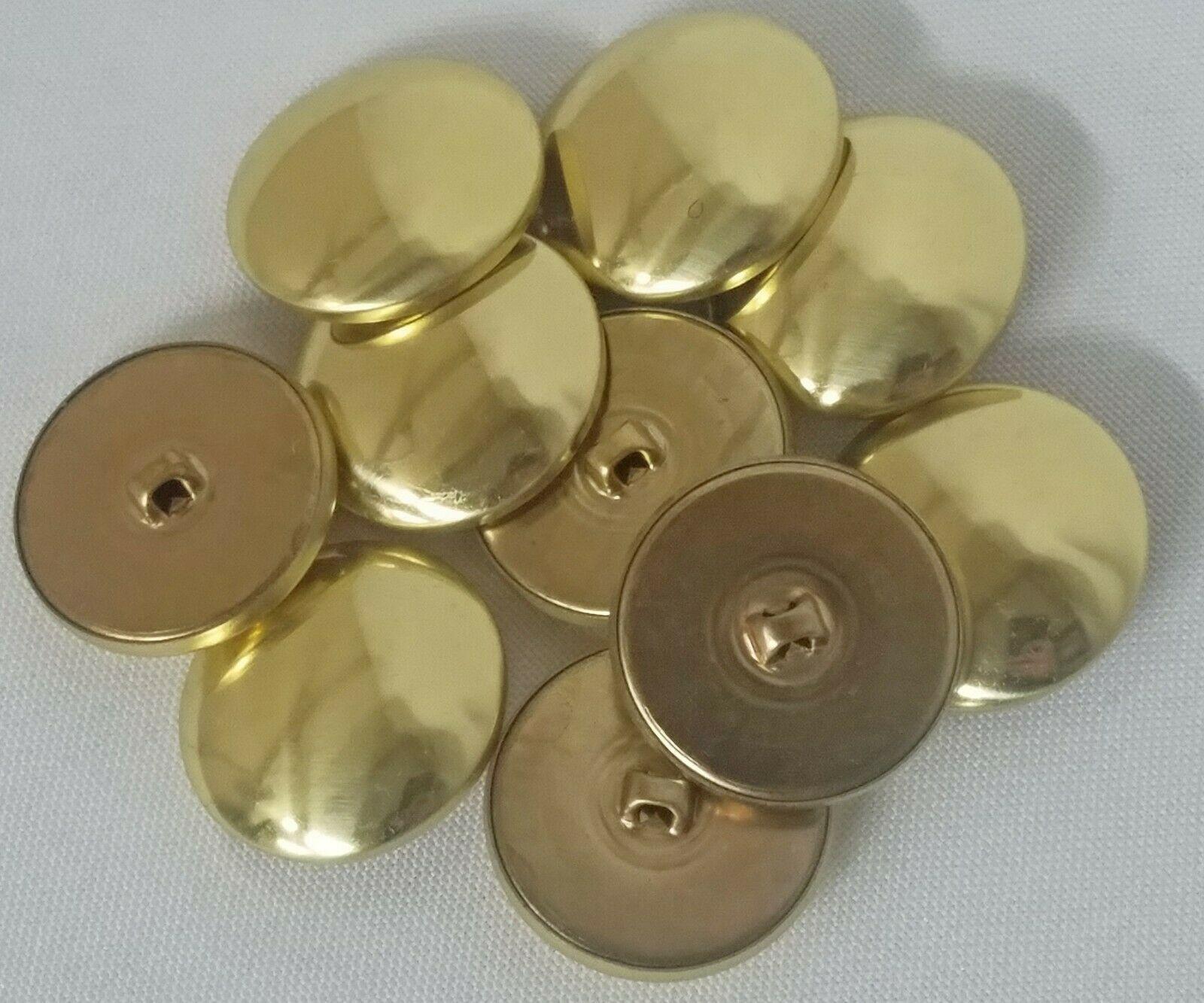 10 Count Buttons - Brass Metallic Gold Shank Dutch Costume Coat Buttons M211.41 - $5.00