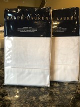 2 New Ralph Lauren *BAILEY* Tuxedo Park White Standard Shams Orig. 370.00 - $93.49