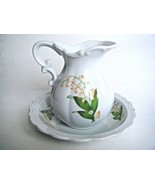 White Porcelain Lily of The Valley Pitcher & Bowl Set Made In Japan - $17.77