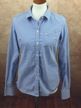 American Eagle Favorite Blue White Check Top Blouse Shirt Women's 8 Medium - $9.34