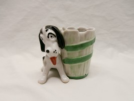Vintage Spotted Dog Black Ears Red Tongue Green Barrel Herb Succulent Pl... - ₨977.01 INR