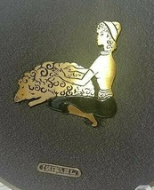 Mid Century Modern Retro Israel Brass Wall Plate Hanging Woman & Sheep 1... - $34.60