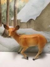 Vintage Hard Plastic Deer Doe For Christmas Village Scenery Diorama - $8.95