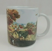 Vintage Gibson John Deere Tractor Country Farming Scene Coffee Mug Cup - $9.49