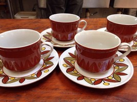 Set 4 Mikasa Vintage 70s Epiqure One Parade Coffee Mugs Tea Cups Saucers... - $39.99