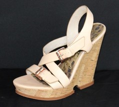 Sam Edelman Josie women's heel sandals leather cork wedge buckle size 7.5 M - $22.99