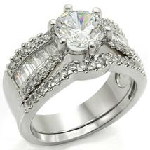 CLEARANCE------HCJ Round CZ & Baguette Cut CZ Wedding Rings #003 SIZE 8 ... - $15.00