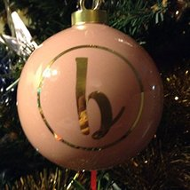 Letter B in Gold on Pink Ceramic Monogram Ornament