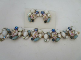 Vintage Clip Earrings and Bracelet Set Multicolored Stones  - $24.95