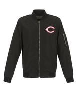 MLB Cincinnati Reds Lightweight Nylon Bomber Jacket Black Embroidered Logo - $99.99