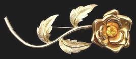 Vintage Pin Goldtone Rose  Rhinestone Brooch 1950S  Large  4 12 Long - $15.85
