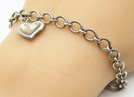 LONDON LINKS 925 Silver - Vintage Love Heart Charm Round Chain Bracelet ... - $37.45