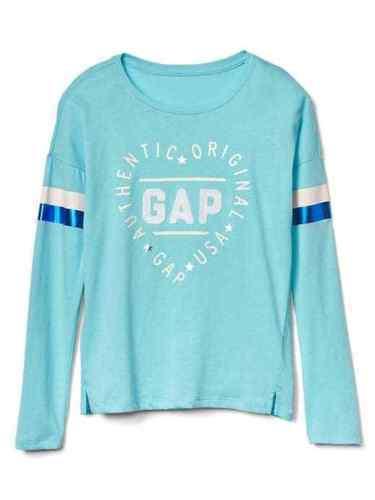 Gap Kids Girls T-shirt 4 5 Long Sleeve Heart Graphic Aqua Blue Crew Neck New