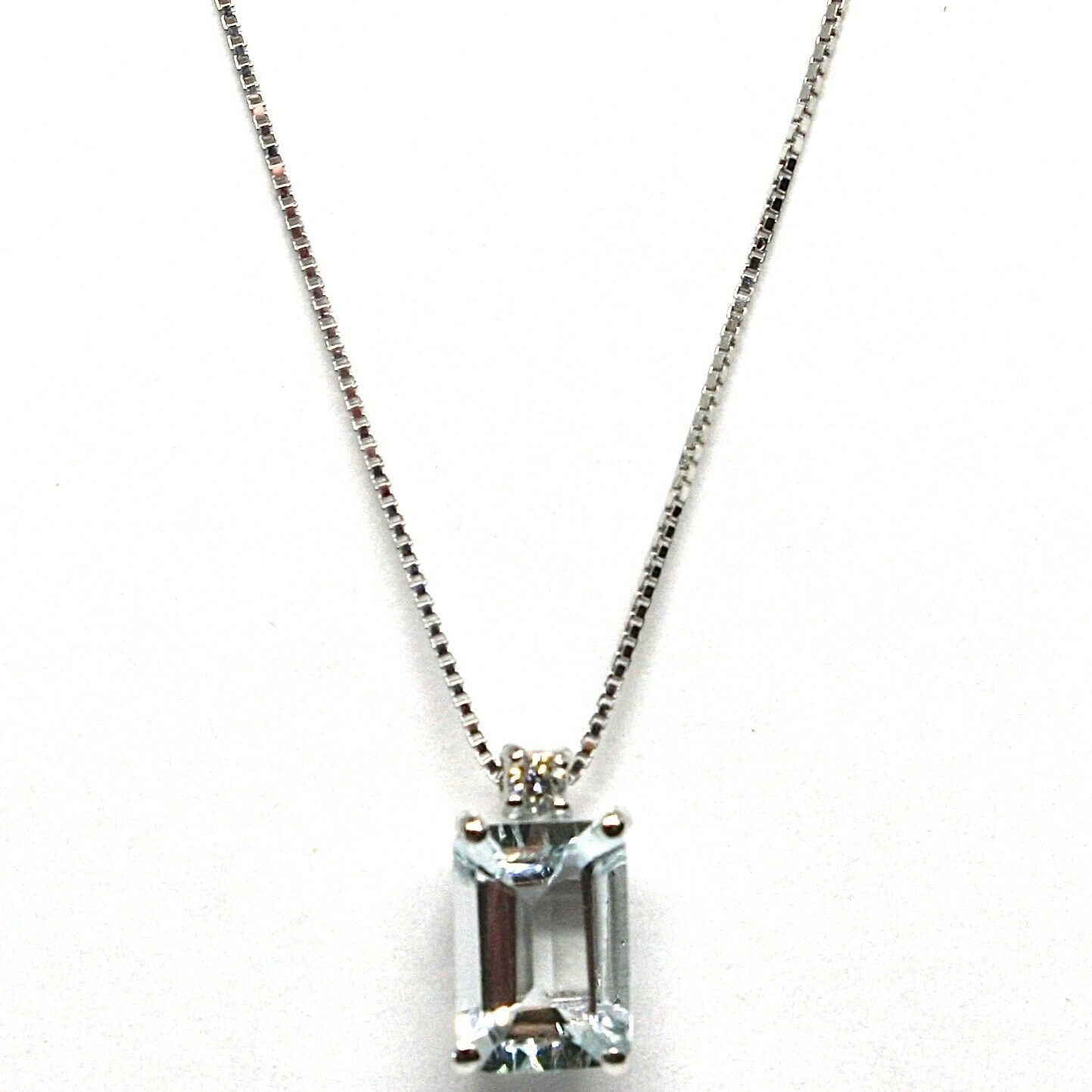 18K WHITE GOLD NECKLACE AQUAMARINE 0.80 EMERALD CUT & DIAMOND, PENDANT & CHAIN