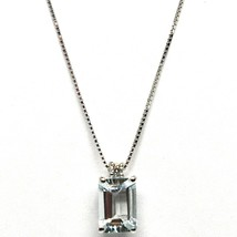 18K WHITE GOLD NECKLACE AQUAMARINE 0.80 EMERALD CUT & DIAMOND, PENDANT & CHAIN image 1