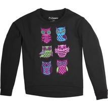 Hanes Girls Fleece Hi Low Hem Sweatshirt Size Medium (8) Black W Hoot Owls  - $10.88