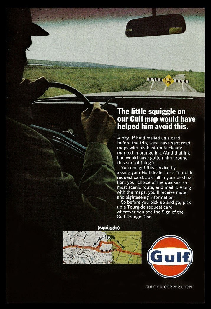 1966 Gulf Oil AD Road Closed Sign Tourguide Promo Advertising Transportation AD - $14.99