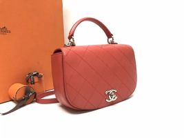 AUTHENTIC CHANEL CORAL RED 2-WAY QUILTED CALFSKIN TOP HANDLE FLAP BAG image 3
