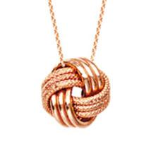 "14K Solid Gold Love Knot Necklace - Rose Adjust 16""-18"" LoveKnot Minima... - $180.00"