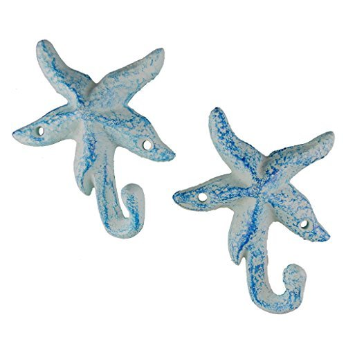 Iron Starfish Hook, Set of 2, Light Blue