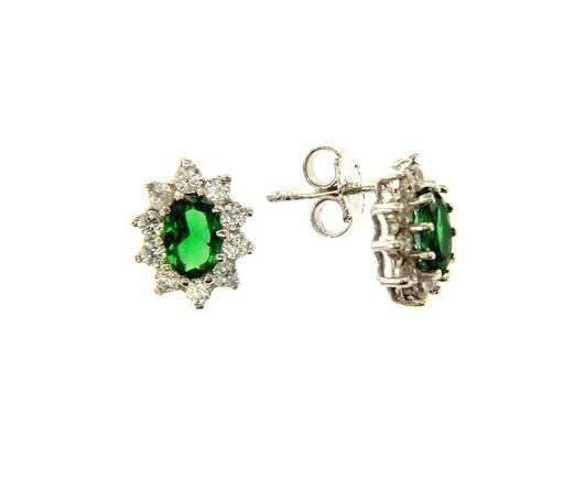 18K WHITE GOLD FLOWER EARRINGS OVAL GREEN CRYSTAL AND CUBIC ZIRCONIA FRAME