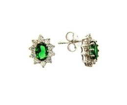 18K WHITE GOLD FLOWER EARRINGS OVAL GREEN CRYSTAL AND CUBIC ZIRCONIA FRAME image 1