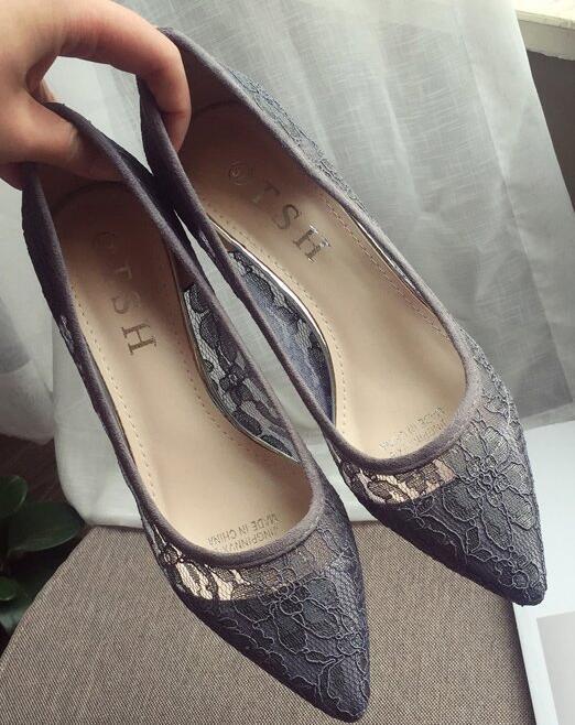 Low Heels Grey Lace Wedding Shoes,Gray Women Bridal Heels,Grey Evening Shoes image 5