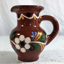 Miniature Decorated Hand Painted Redware Pitcher Floral Pattern 3 inches... - $3.00