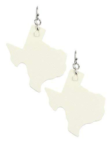 Light Weight State of Texas Dangle Earrings Faux Leather (White)