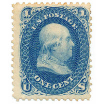 63TC6n 1c Blue Trial Color Proof on Wove Paper, 1861, William Wyckoff  - $129.00